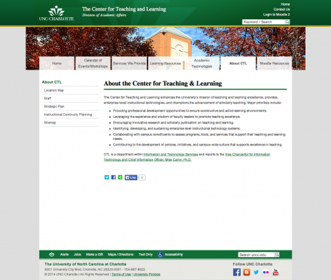 Center for Teaching and Learning Sub-page in Theme 2B